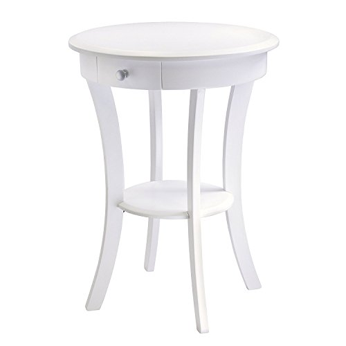 Accent Table for Small Places White Premium Wood Night Stand with Drawer