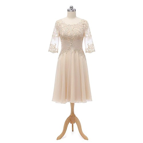 Mother Of The Bride Dresses Champagne Color Knee Length Lace Wedding