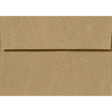 A7 Invitation Envelopes w/Peel & Press (5.25 x 7.25) - 100% Recycled - Grocery Bag Brown (50 Qty.) | Fits 5 x 7 Photos