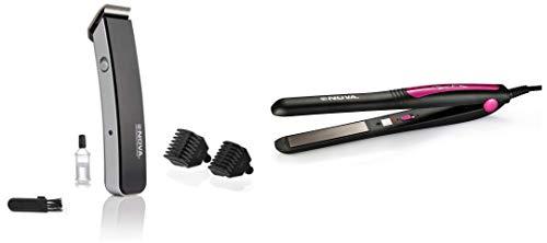 Nova NHT 1045 Rechargeable Cordless Beard Trimmer for Men  Black   amp; Nova NHS   840 Professional Series Straightener for Women  Pink