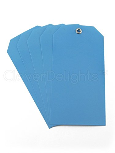 "100 Pack - Blue Plastic Tags - 4.75"" x 2.375"" - Tear-Proof and Waterproof - Inventory Asset Identification Price Tags"