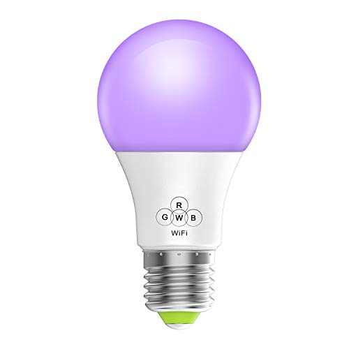 Magic Hue WiFi Light Bulb, Multicolor Dimmable Smart LED Night Lights, 50W Equivalent, Compatible with Amazon Alexa and Google Assistant