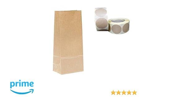 Bolsa papel Kraft (50 uds) sin asas con etiqueta adhesiva de cierre