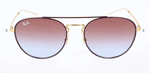 Ray-Ban RB3589 Square Metal Sunglasses, Violet on Gold/Violet Gradient, 55 ()