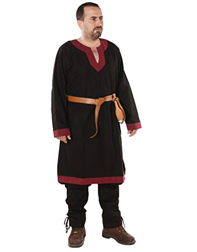 byCalvina - Calvina Costumes Arthur Medieval Viking LARP Renaissance Mens Cotton Tunic- Made in Turkey, 4XL-BLC/BRG Black/Burgundy]()