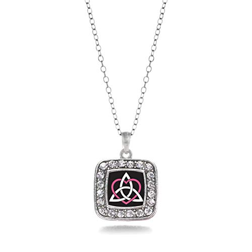 Inspired Silver - Celtic Sisters Knot Charm Necklace for Women - Silver Square Charm 18 Inch Necklace with Cubic Zirconia Jewelry