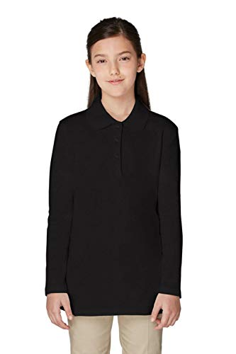 (French Toast Girls Plus Size' Long Sleeve Picot Collar Interlock Polo, Black, 14/16P)