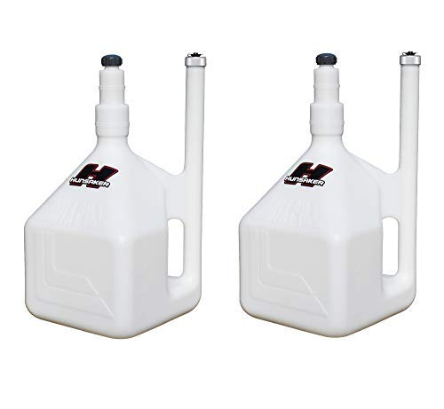 HUNSAKER USA: 5 Gallon WHITE QuikFill Fuel Jug, Gas Can (w/Vent Tube Gripping Handle) - QTY 2