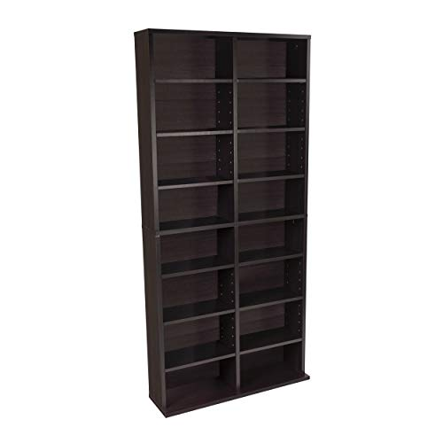 Atlantic Oskar Adjustable Media Cabinet - Holds 464 CDs, 228 DVDs or 276 Blu-rays, 12 Adjustable and 4 fixed shelves PN38435719 in Espresso - Four Adjustable One Fixed Shelf