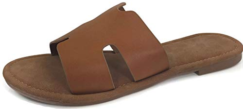 Wells Collection Womens Slip On Slide Flat Sandal with Notch Cut-Outs, Tan, 7.5