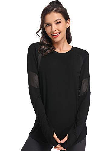Muzniuer Womens Long Sleeve Workout Shirts-Plain Long Sleeve Tshirt for Women Yoga Sports T-Shirt Long Sleeve Breathable Shirts Activewear with Thumb Hole Black S