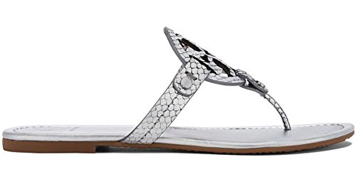 Tory Burch Metallic Sliver Snake Print Leather Miller Sandals - Snake Tory Burch