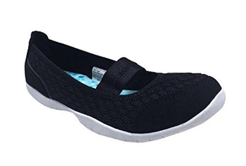 Danskin Now Women's Memory Foam Slip-On Athletic Ballet Flat Shoe (7.5 B(M) US, Black)