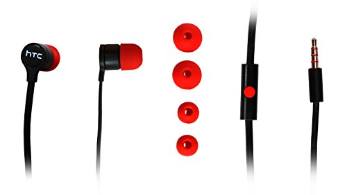 RC-E295 Black Red for 2 in-Ear Headphones in-Ear Earbuds Earphones Mini One 3.5 mm Plug Stereo Sound ()