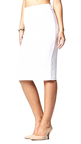 Conceited Premium Stretch Pencil Skirt - 10 Colors - by (Medium, White) - Lined Pencil Skirt
