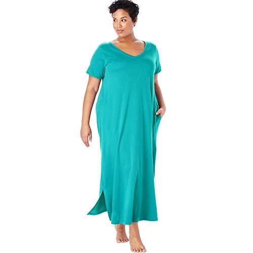 Dreams & Co. Women's Plus Size Maxi Lounger - Aquamarine, M ()