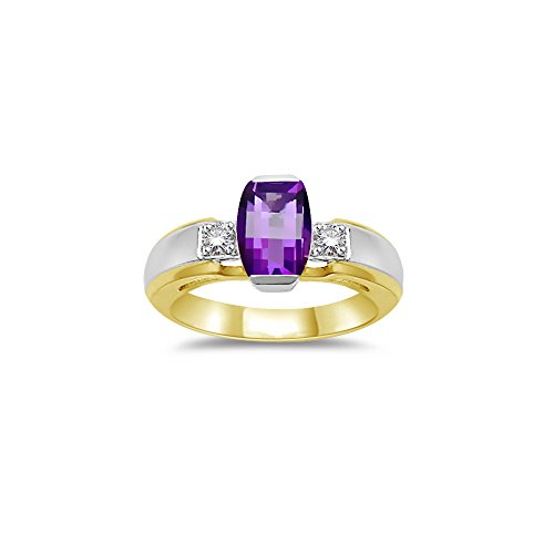 0.10 Cts Diamond & 7x5 mm Barrel-Cut Amethyst Ring in 14K Two Tone Gold-9.0