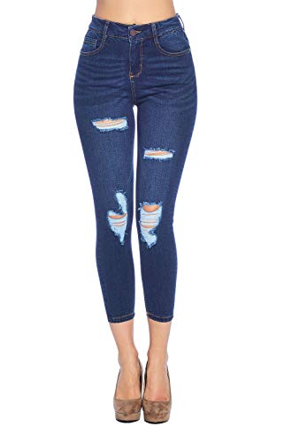 Blue Age Women's High Rise Skinny Ankle Jeans Ripped Denim (JP1054H_DK_5) (Color Ripped Skinny Jeans)