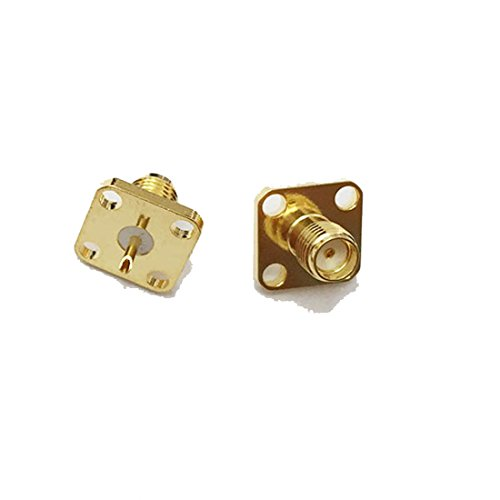 10pcs SMA Female 4-Hole Panel Mount Flange RF Coax Connector with Solder Cup Straight USA Shipping