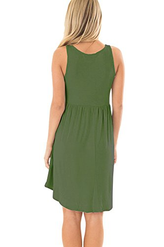 Women's Casual Dresses Army Loose Short AUSELILY Plain Green Sleeveless Tank dCAdwqf