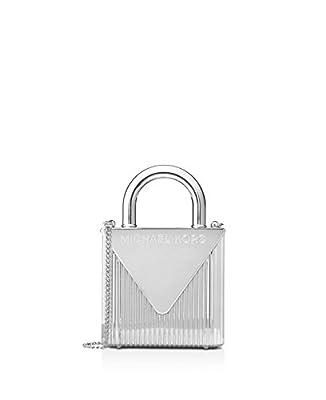 Michael Kors Studio Mercer Oversized Locked Clutch Silver