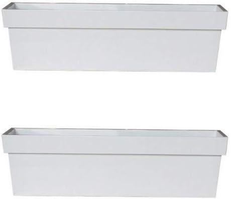 Par de cajas de 40 cm, brillante color blanco zinc ventana/jardín maceta/maceta/recipiente de metal: Amazon.es: Jardín