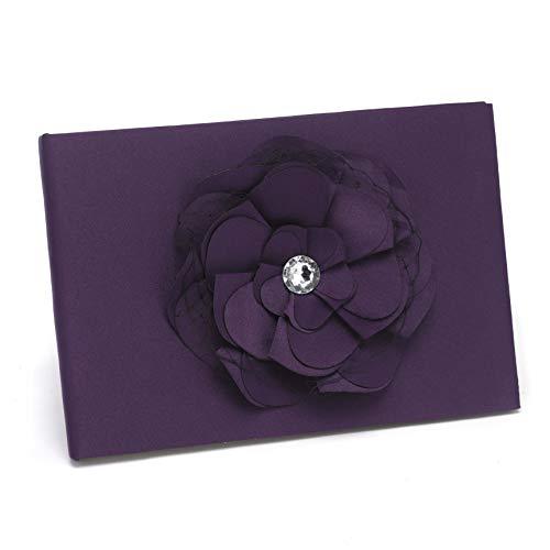- Hortense B. Hewitt Wedding Accessories Floral Fantasy Collection Guest Book, Eggplant Purple