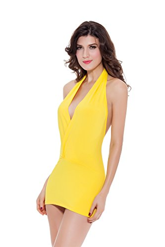 Sexinn Women Halterneck and Backless Sexy Lingerie with G-string Yellow (Sexy Cowgirl Lingerie)