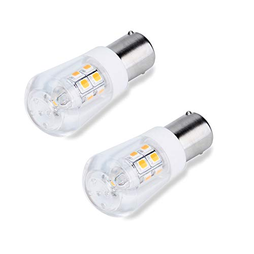 JOMITOP AC/DC 12V BA15S Led Light Bulb S8 Bayonet Base Non-Dimmable 2W Waterproof Lamp CRI80 for Boat, RV, Auto Car Soft Warm White Pack of 2