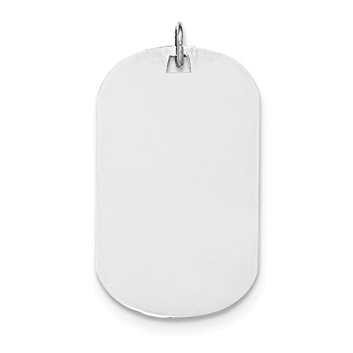 14k White Gold Plain .018 Gauge Engravable Dog Tag Disc Charm Engravable Dog Tag Charm