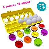 U-Nice Toddler Toys - Matching Eggs (12 Eggs) - Educational Color & Recognition Skills Study Toys, for Learn Color & Shape Match Egg Set, 2 Years Up Kid Baby Toddler Boy Girl. -