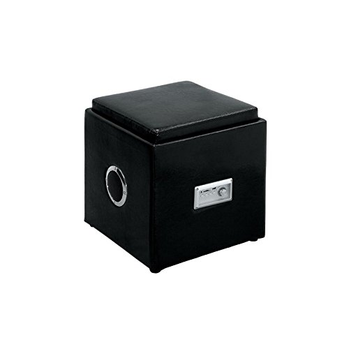 Furniture of America Tilly Faux Leather Ottoman with Bluetooth Speaker