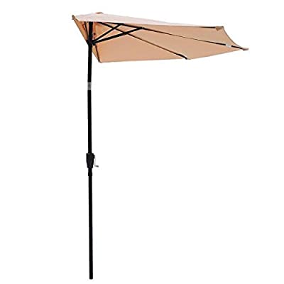 9 Foot Patio Half Umbrella Off The Wall Tilt Tan - 9 ft Foot Off-the-wall Umbrella is a half canopy patio umbrella for Sun Shading with 5 firm ribs construction more sturdy than the 4-rib half canopy. Not too large for your balcony and deck, Half and mounted the wall design for maximizing your outdoor area. Color Fastness up to European Standard Level 4: Better and keep color more firm than European standard level 3 tops current market Keep original color anti-fade for at least half a year longer than those without any anti-fade technology. - shades-parasols, patio-furniture, patio - 31Zs5QtxLaL. SS400  -