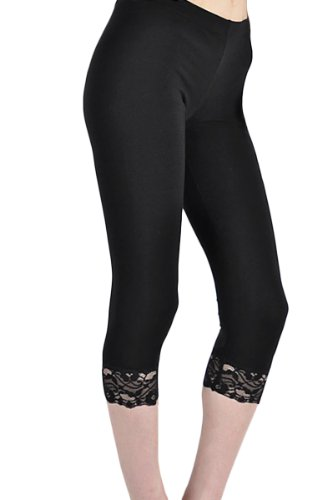 KMystic Cotton Blend Lace Trim Capri Leggings at Amazon Women's ...