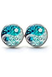 Turquoise Blue Yin Yang Earrings , Yin Yang Ear Studs , Chinese Yin Yang Jewelry , Zen Earrings , Glass Dome Ear Studs