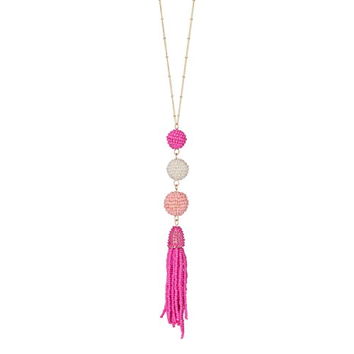 Occasionally Made O-JB-NBD-TP Seed Bead Ball Drop Tonal Necklace, Pink