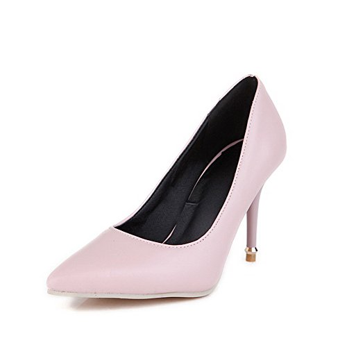 Odomolor Women's Pointed Closed Toe Spikes Stilettos Pull on Solid Pumps-Shoes Pink emQgnSV