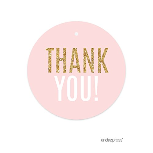 Andaz Press Signature Blush Pink, White, Gold Glitter Party Collection, Round Circle Gift Tags, Thank You!, (Labels Stationery Tags)