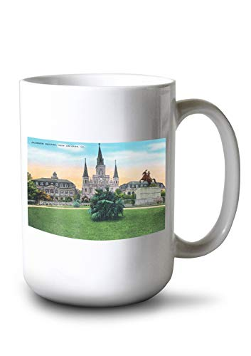 Lantern Press New Orleans, Louisiana - Jackson Square View (15oz White Ceramic Mug)