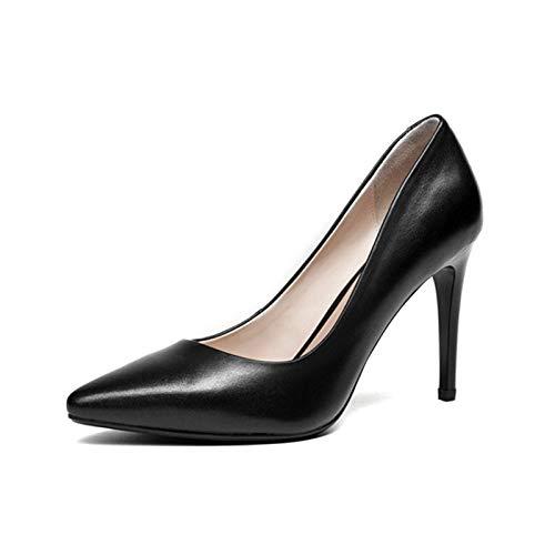 Zapatos Alto Primavera 34 Tacón Mujer 39 Nuevas Black Sólidos De Cuero Delgados Bombas Casual Hoesczs Sin Cordones Mujeres Oficina Tamaño Genuino XqxU1U