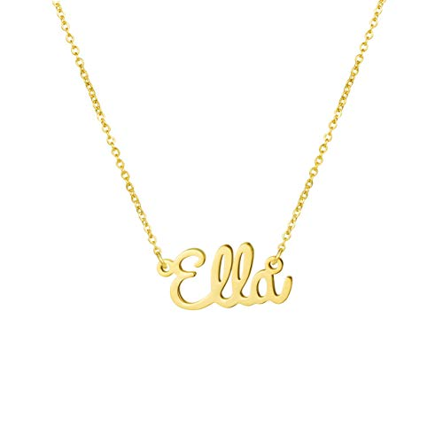 Yiyang Personalized Name Necklace Customize 18K Gold Plated Stainless Steel Jewelry Birthday Gift for Girls Ella