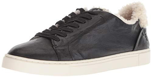 FRYE Women's Ivy Shearling Low Lace Sneaker Black 8.5 M -