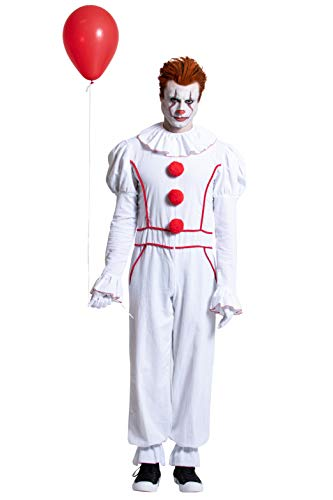 Yandy Exclusive Men's Long Sleeve Sewer Evil Clown Cosplay Costume White Small]()