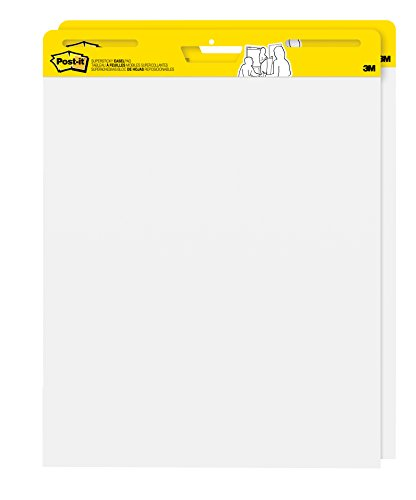 Post-it Super Sticky Easel Pad, 25 x 30 Inches, 30 Sheets/Pad, 2 Pads, Large White Premium Self Stick Flip Chart Paper, Super Sticking Power ()