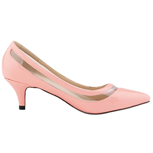 Bout Vernies Chaussures WanYang Toe Pointu Femme Ouvertes Rose2 Pointed Pumps Heel Stiletto Elégants 6Rvaz6Z0