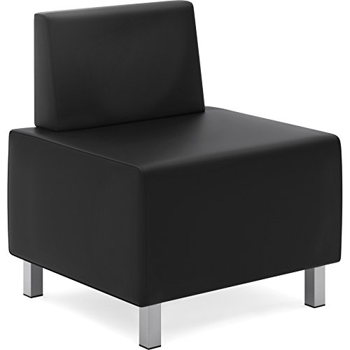 HON Modular Lounge Chair, Black SofThread Leather (HVL864)