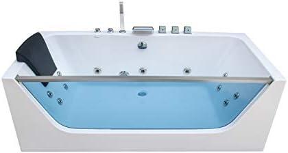 Empava 67″ Acrylic Alcove Whirlpool Bathtub Hydromassage Rectangular Jetted Soaking Tub
