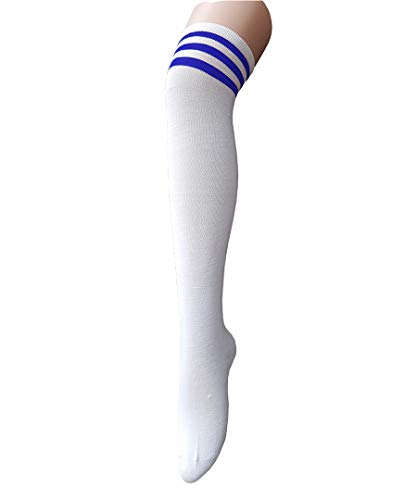 Century Star Women Athletic Over Knee Socks Striped Thigh High Stockings Cosplay Warmer Legging Socks White And Blue
