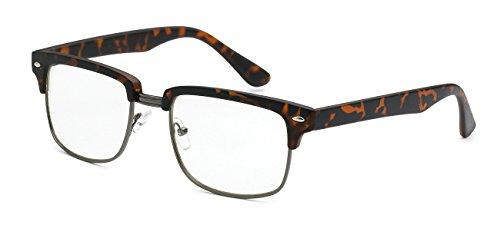 5zero1 Fake Glasses Half Frame Retro Fashion Men Women Nerd Classic Clear Lens Eyeglasses (Square Matte - Clubmaster Matte Tortoise
