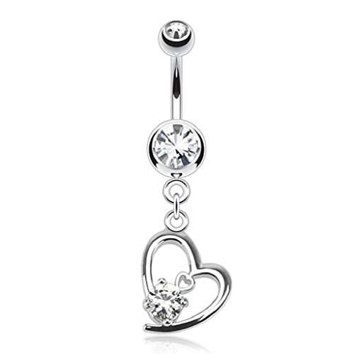 Hollow Heart Dangle (PiercedOff 316L Surgical Steel Hollow Heart with Prong CZ Dangle Navel Belly Ring (Clear))